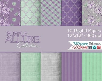 Instand Download - Digital Scrapbook Paper - 10 Digital Papers - Purple Allure Collection