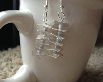 Gray Pearl, Silver Drop Earrings