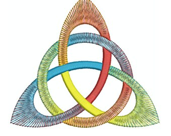 Machine Embroidery Design Instant Download - Celtic Knotwork Rainbow Triquetra B