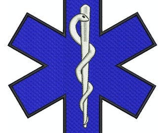 """Machine Embroidery Design Instant Download - Paramedic insignia """"Star of Life"""""""