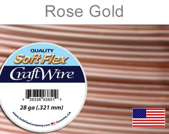 26 Gauge Rose Gold Silver Plated Wire, Soft Flex, Round, Non-Tarnish, Supplies, Findings, Craft Wire