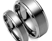 His & Hers Mens Womens Matching 14K White Gold Wedding Bands Rings Set  7mm/4mm Wide  Sizes 4-12  Free Engraving  New