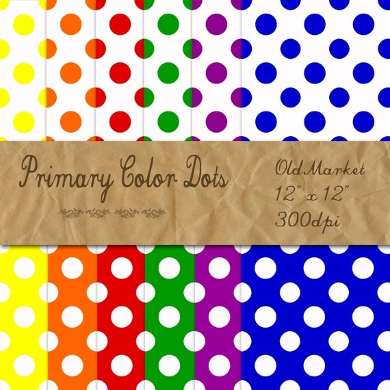 primary color polka dots digital paper polka dot backgrounds