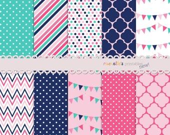 Navy Pink Aqua Digital Paper Pack