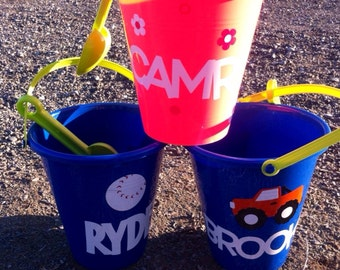 Personalized Sand Bucket - Sand Pail - Boys and Girls - Party Favors - Gift Baskets