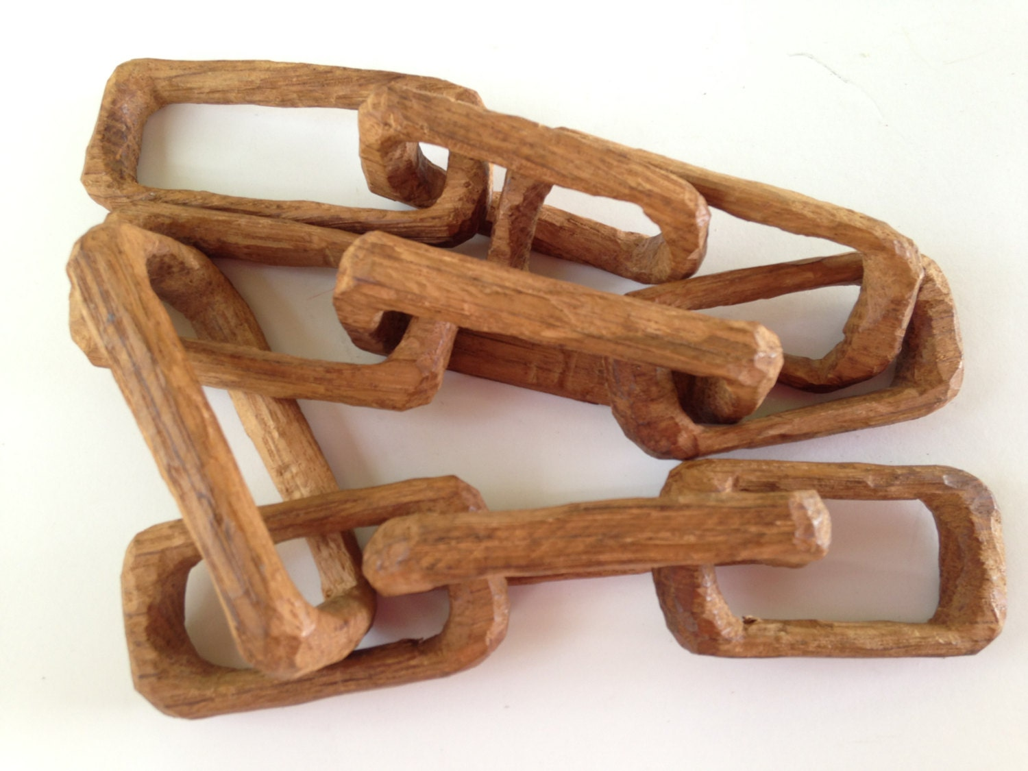 Hand Carved Wooden Chain Carved From Solid Piece Of Wood