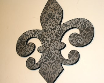 Fleur de lis wall decor , Black and grey wall decor, French decor, Fleur de lis wall art