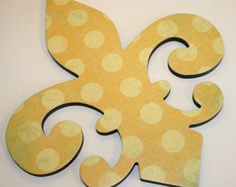 Fleur de lis wall decor , Yellow nursery decor, Yellow wall decor, Fleur de lis wall art, Polka dot decor