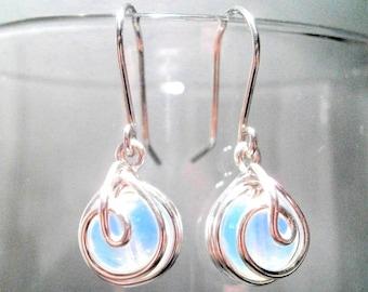 Silver Earrings Opalite Handmade Wire Wrapped Iridescent Dangle Earrings, Drop Earrings, Wire Wrap Earrings