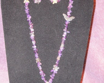 BUTTERFLIES And SILVER WIRE-Wrapped Amethyst Necklace and Earrings
