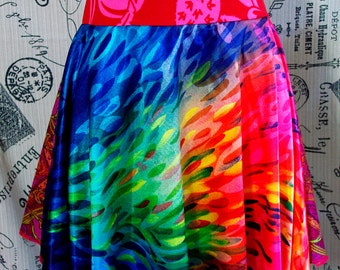 You Spin Me Right Round Baby// Burst of Color Fuschia Multi-Directional Whirly Twirly Skirt w/ Hawaiian Waistband- ROCK ON