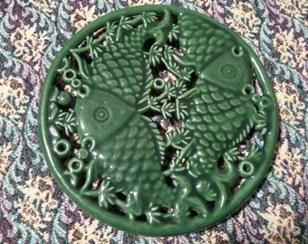 Oriental Enameled Koi Trivet