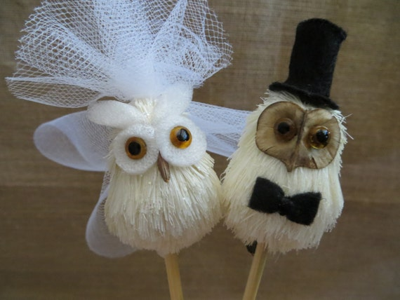 Owl Wedding Cake Topper,  Wedding Cake Topper, Lovebird Cake Topper, Rustic Wedding Cake Topper