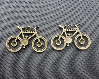20 PCS Antique Bronze Lovely Bicycle Charm Pendant  23mmx35mm