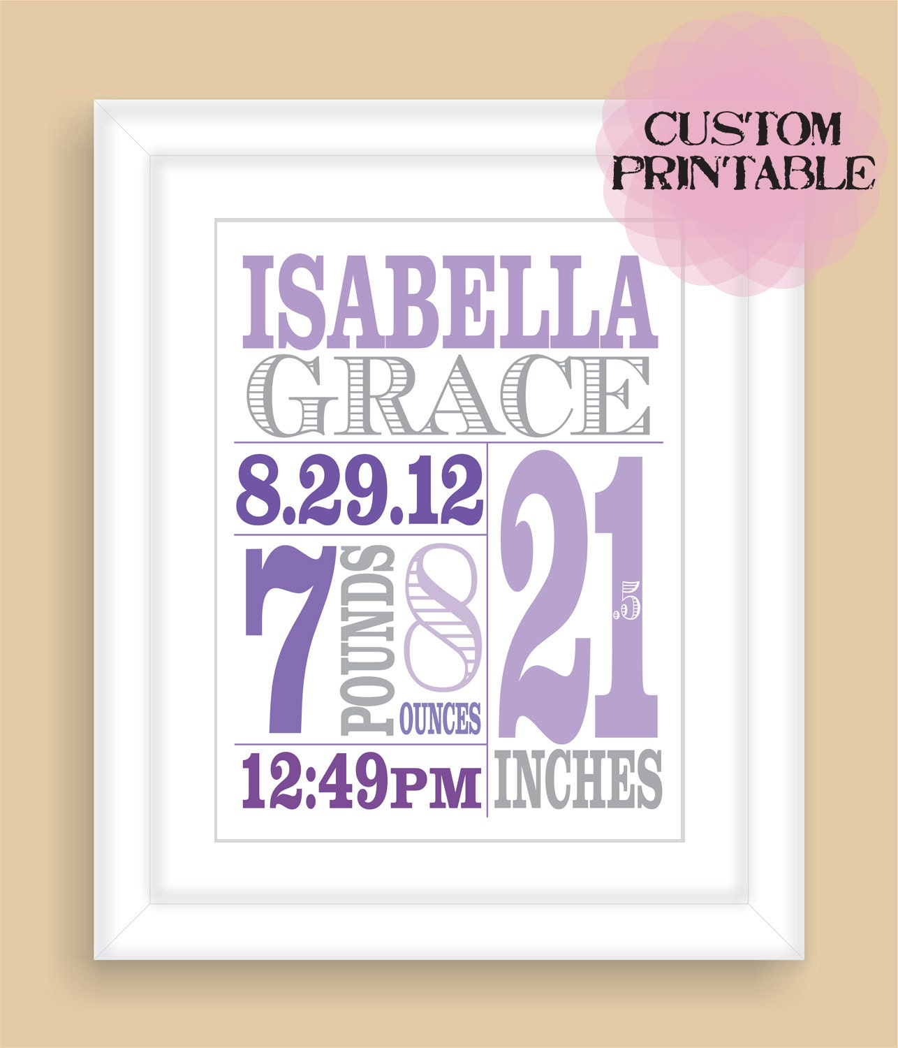 Printable DIY Baby Birth Stats 8x10 Newborn By NatalieDesignStudio