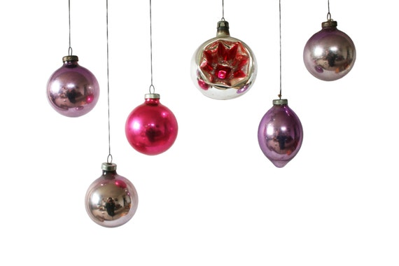 Purple Christmas Tree Baubles Uk : Vintage christmas baubles pink and purple s