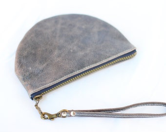 Leather Purse with removable wristlet Blue/Grey