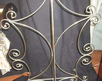 """REDUCED Vintage Brass Plated Extra Large Easel with chained stand in back 32"""" Wide 42"""" Tall 16"""" Deep"""