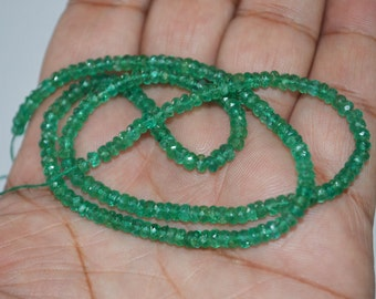 Rare AAA Quality Natural Emerald faceted 3mm to 3.60 mm , 8 inch Strand