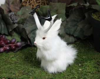 White Jackalope Rabbit with Horns Easter Bunny Furry Animal Taxidermy Decor