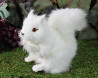 White Snowy Squirrel Real Size Realistic Figurine Stuffed Furry Animal