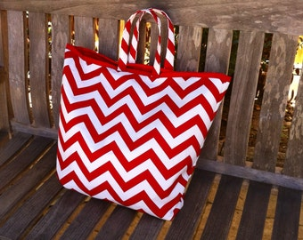 Red Chevron Beach Tote, Large Pool Bag, Red and White Tote