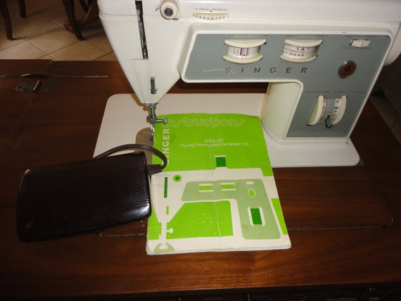Items Similar To Vintage 1974 Singer Sewing Machine Model 734 In Cabinet With Original