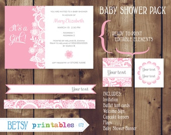 Baby Shower party printables, Baby girl, Pink lace, editable  - INSTANT DOWNLOAD  072