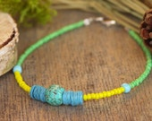Tiny Friendship Bracelet Green Turquoise Yellow blue gemstone RITMS