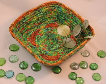 medium green square coiled fabric basket