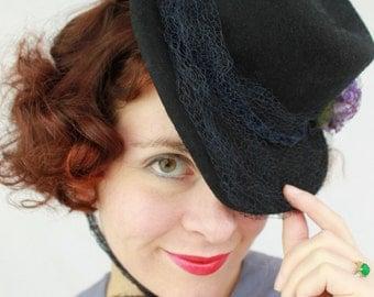 Custom Order: 1940s Style Wool Felt Tilt Topper Hat with Vintage Flowers & Ribbon Veiling