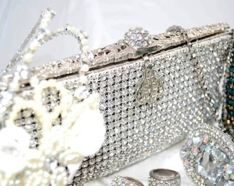 Swarovski crystal Bridal Wedding Silver white Minaudiere soft mesh rectangle clutch purse bag