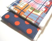 Baby Burp Cloth Set - Cute Madras, Red , Navy Blue Polka Dots- Michael Miller Fabrics