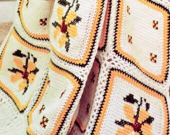 Summertime Brown-Eyed Susan Afghan Crochet Pattern