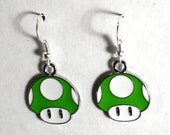 Green Mario Super 1-Up Mushroom Earrings (FREE SHIPPING)
