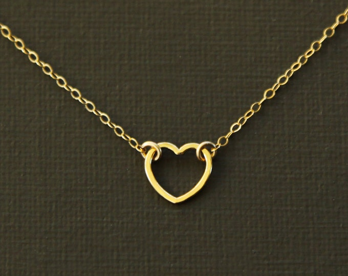 Floating Gold Heart Necklace - 14K Gold Over Sterling Silver
