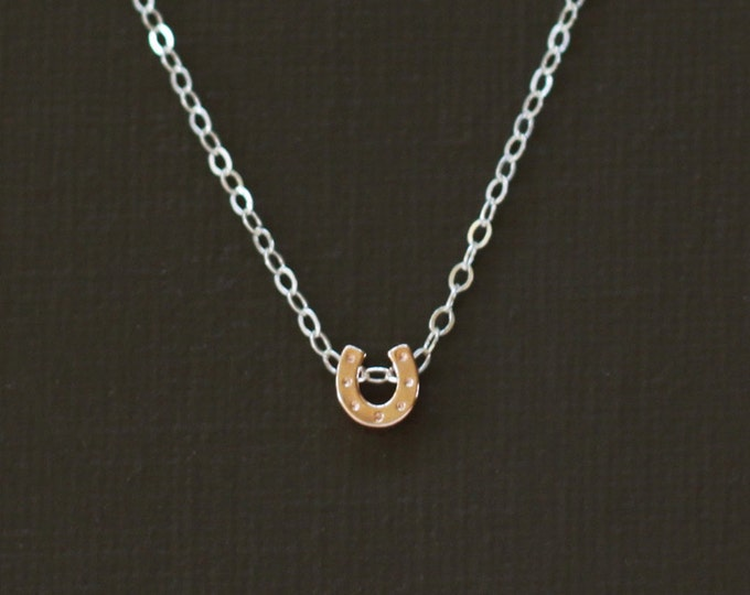 Rose Gold Tiny Horseshoe Necklace - Sterling Silver Chain