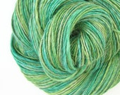 Handspun Yarn, DK Light Worsted, 280 yards, 4.3 oz., Alpaca Silk Blend, Emerald Green, Soft Green, Hand dyed, Single Ply Luxury Yarn, Elm
