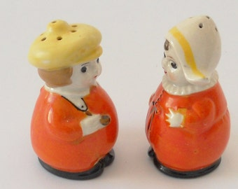 Dutch Boy and Girl Salt and Pepper Shakers Hand Painted Porcelain