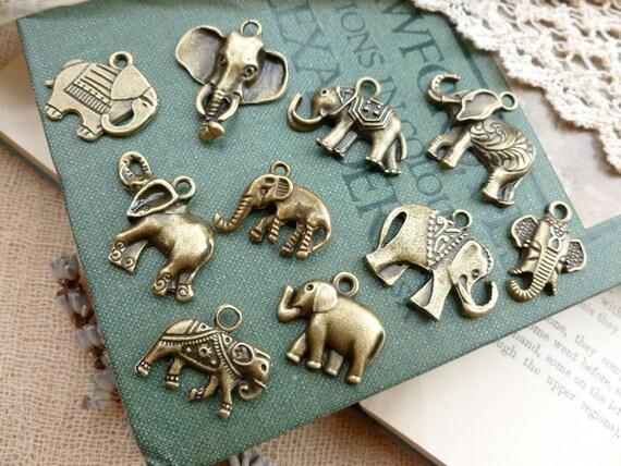 10x Mega Mix Elephant Charms Collection, Mix Antique Brass Pendants S10