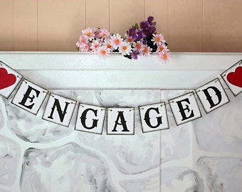 ENGAGED BANNER  Bridal Shower Banners - Wedding Banner - Banners - Engagement Party Decoration - Photo Prop