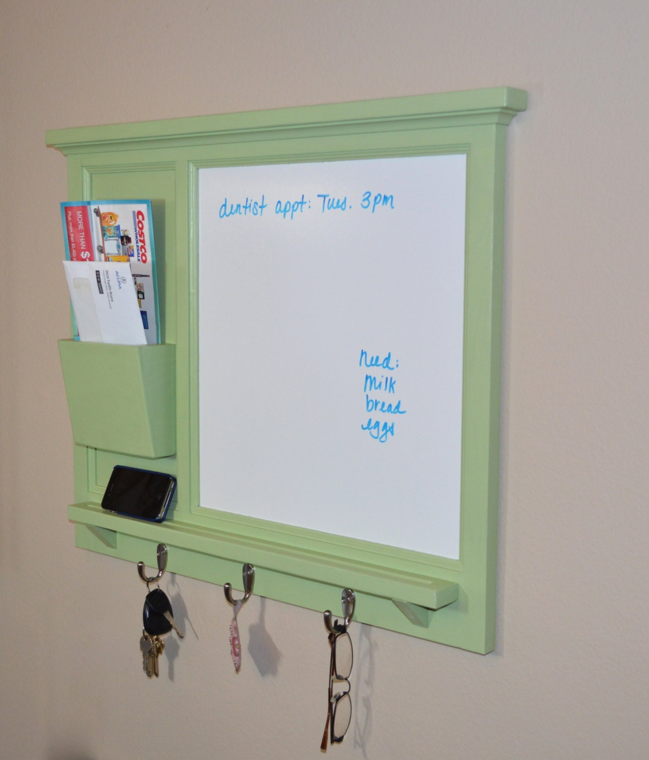 Magnetic Dry Erase Board Wall Mail Organizer By