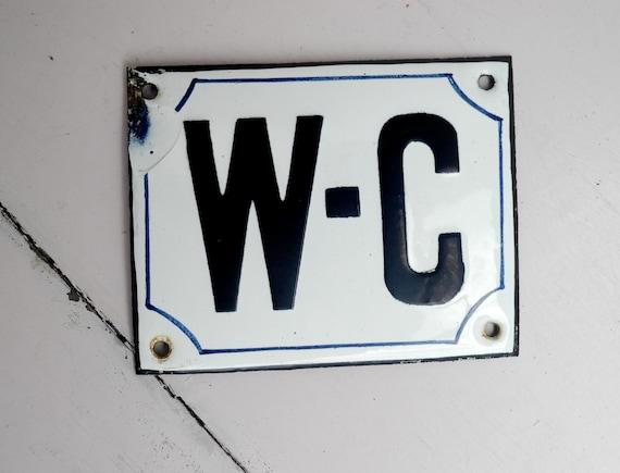 1900 39 S French Antique Enamel Bathroom Sign .