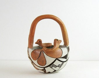 Vintage Acoma Pottery - Native American Ceramic Bowl with Handle - Indian Art Pottery - Black and White Painted Pottery Bird Feather Design