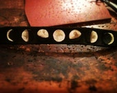 Hand tooled leather Moon Phase bracelet with snap closure