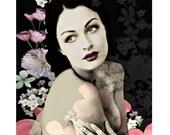 Vintage sensual goddess, digital print, photomontage, vintage print, fine art print, home decor, gone with the wind, burlesque print