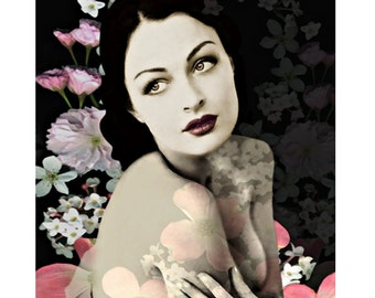 Glamour goddess, digital print, photomontage, vintage print, fine art print, home decor, modern art, 1920 starlet, burlesque, wall art