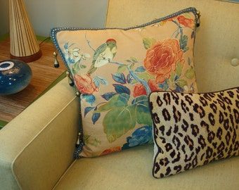 SOLD Bird and Floral Printed Cotton Pillow with Glass Bead and Wood Tassel Trim