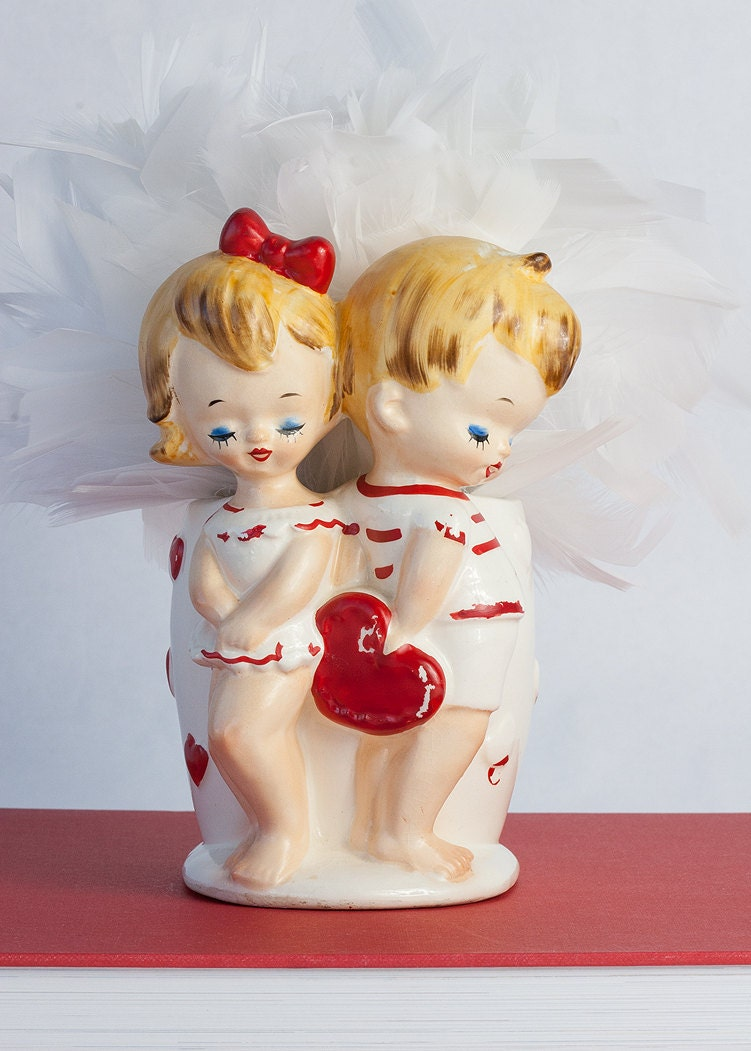 vintage lefton valentine vase or planter by sadrosetta on etsy