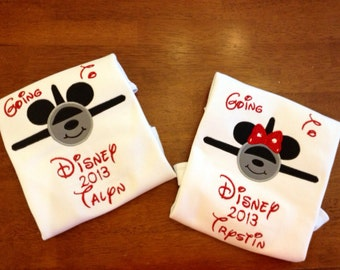 Going to Disney Airplane Applique Shirt